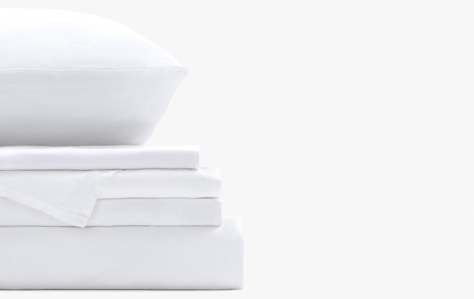 French linen bedding set - White